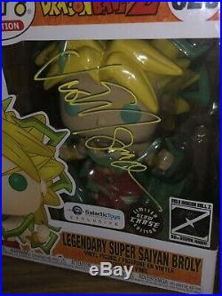 Signed Funko Pop! Legendary Super Saiyan Broly Chase Glow Dragon Ball Z (JSA)